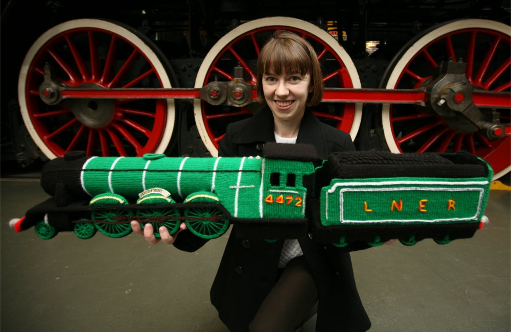 Clare with Knitted Flying Scotsman model