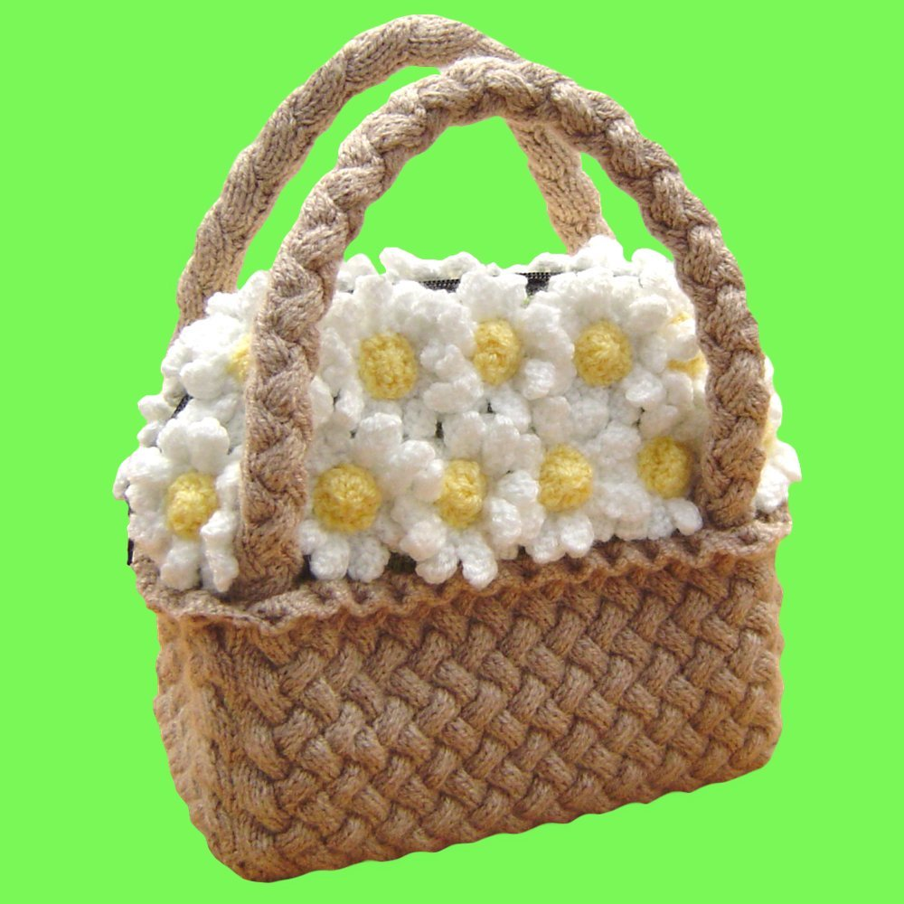 Knitted Flower Basket Handbag