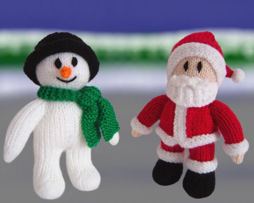 Knitted Snowman and Santa Claus