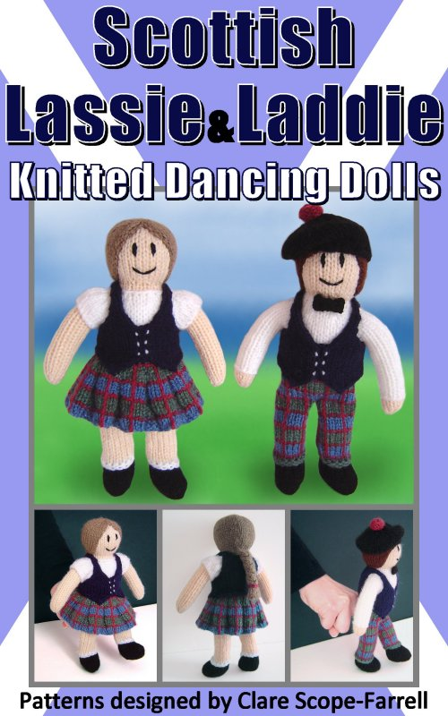 Scottish Lassie and Laddie Knitted Dancing Dolls